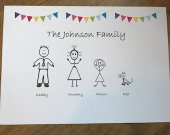 Family tree personalised print - bespoke gift bunting stickman