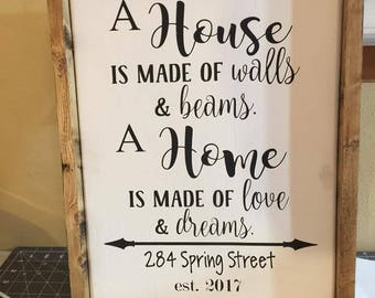 A House is Made of Walls and Beams - Sign