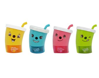 Cartoon Straw Cup Sharpener - Yellow Blue Pink Green
