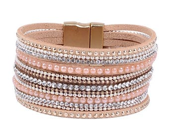 NEW YEAR SALE---Pink Multi Strand Bracelet, Genuine Leather Bangle Bracelet, Crystal Bracelet, Women's Bracelet, Birthday Christmas Gift