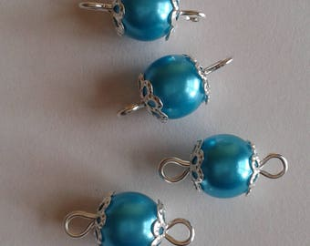 5 connectors 8mm turquoise glass pearl beads