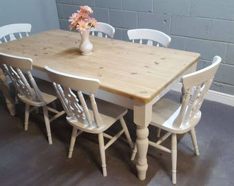 Shabby Chic 6ft Farmhouse table set