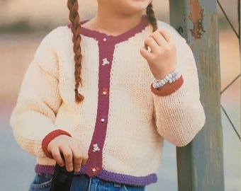 PDF Knit Child's Cardigan And Matching Cap (Easy)
