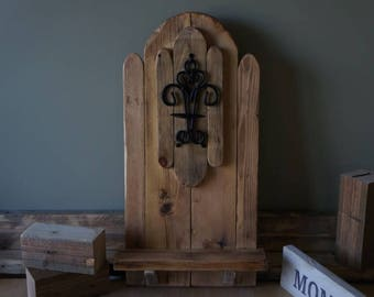 Handmade Rustic Wooden Sconce & Shelf - Wall Mounted Candle Wine Shelf