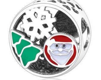 Genuine Sterling Silver Charm - Christmas - Enamel CZ Bead Charm - Fits European and Pandora Charm Bracelet