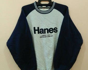 HANES Sweatshirt pullover spellout embroidery LL size