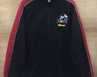 VINTAGE! Mickey Mouse / Sweatshirt / Half zip / Embroided Logo