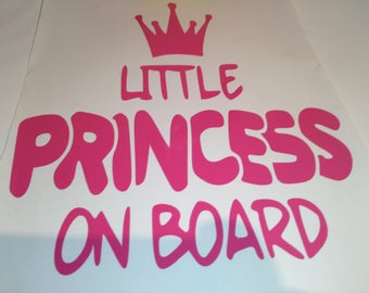 Pink little princess, Car decal, window sticker  , bumper decal , car sticker , warning sticker , safety decal , girls , princess