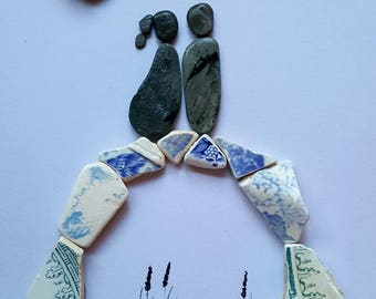 Cornish Pebble Art Picture Couple Bridge Love Together Unique Gift Picture Handmade