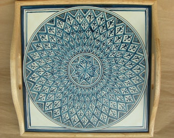 Serving Tray in Lozenges Blue Pattern