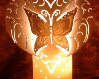PVC hand carved design Butterfly heart lamp