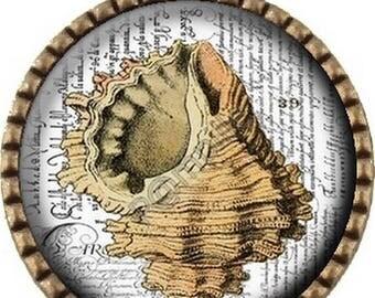 Bronze Cabochon pendant - Beach (504) digital image