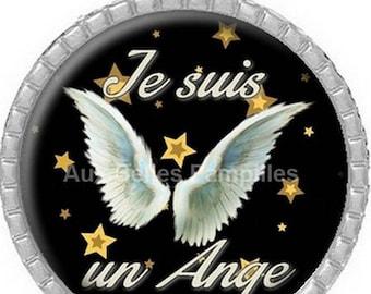 "Round Cabochon pendant 25 mm epoxy resin - ""I'm an Angel"" (976)"