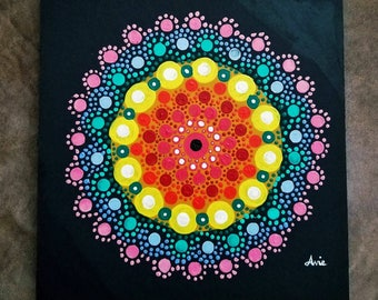 "Dotted Mandala, acrylic on 8""x8"" canvas"