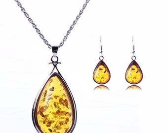 Yellow Amber stones pendant silver necklace and earrings set
