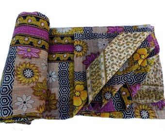 Twin Old Reversible Kantha Quilt Old Cotton Hand Stitched Quilt Handmade Blanket cotton Reversible Kantha Quilt