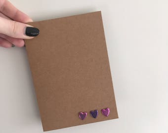 Simple 3 metalic heart card - Blank inside for your own message - Available in barious colours & combinations