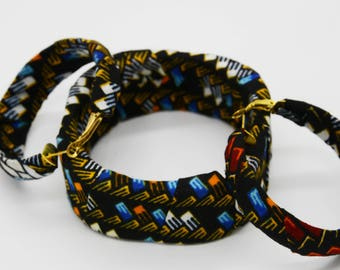 Boho African Fabric Bangles with Matching Earrings - 100% Cotton Ankara Bangles - African Print Bangles - African Fabric Covered Bangles