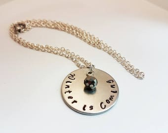 Games of Thrones Jewelry Hand Stamped Metal Jewelry Geek Books Winter is Coming Necklace