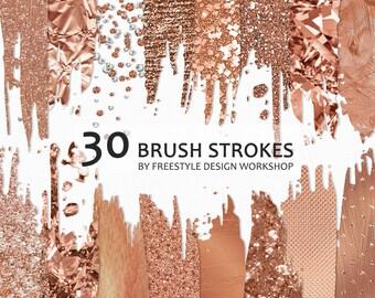 Rose Gold Brush Strokes Clipart/ Rose Gold Foil Brush Strokes/ Rose Gold Glitter Brush Strokes/ Bokeh Brush Stroke/ Metallic Transparent PNG
