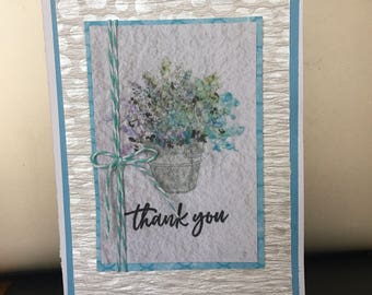 THANKS Thank You Teal and Cream Floral Card