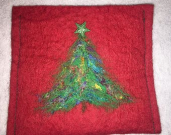 Christmas tree needle felted accessory clutch