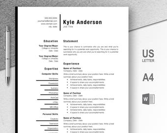Resume / CV Template, References Page, Cover Letter, 1 Page Resume, Instant  References Page For Resume