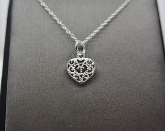 Sterling Silver Small Filigree Heart Pendant Necklace