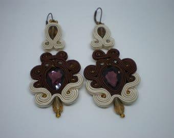 Brown - beige soutache earrings