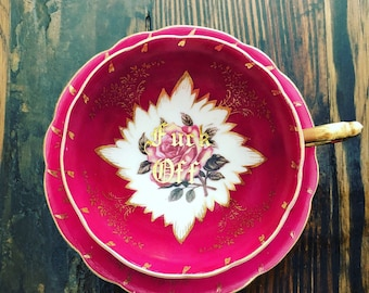 Fuck Off| vulgar vintage Royal Sealy Tea cup and saucer set.