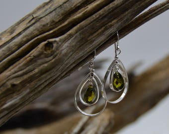 Deep Green Quartz Faceted Sterling Silver Drop Earrings