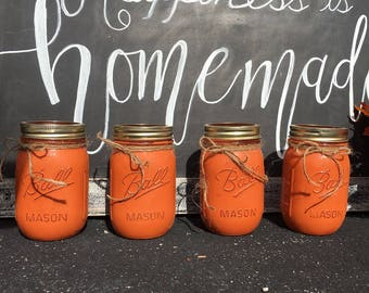 Painted mason jars| white decorations|centerpiece | rustic decorations