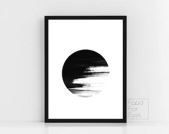 Brush Stroke Wall Art, Black And White Print, Minimalist Wall Decor, Abstract Art, Black Wall Art, Modern Room Decor, Circle Print, Instant