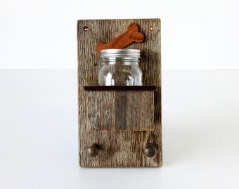 Small Rustic Pet Treat and Leash Holder  - rustic pet leash hanger, shabby chic, treat holder, leash holder, rustic pet decor, pet decor