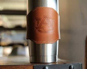 The Officially Licensed Auburn Apollo Leather Drink Cooler Sleeve – for 20oz Yeti Rambler Tumbler