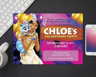 Pocahontas Invitation, Pocahontas Birthday, Pocahontas Invites, Pocahontas Party Printables, Pocahontas Custom