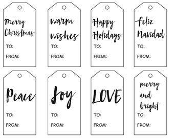 Christmas gift tags, holiday tags, digital download, printable