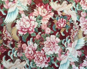 5794 Imperial Collection for Robert Kaufman.  Large scale flowers and birds on a red background.  Asian design.  1/2 yard units