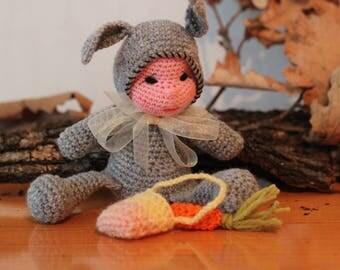 FREE SHIPPING -Amigurumi baby Bunny,Crochet doll,handmade amigurumi doll,rag doll/ nursery decor/ baby toys