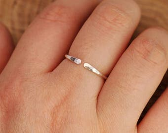 Sterling Silver Minimalist Ring, Open End Ring, Sterling Silver Stacking Ring, Stackable Ring, Minimalist Ring, Midi Ring, Gift for Her