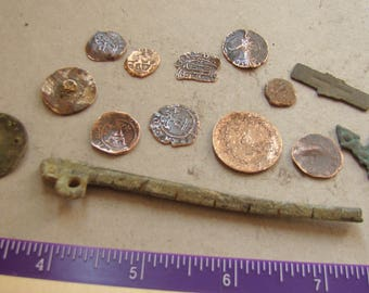Lot Medieval coins & artifacts found Europe w/ metal detector !!