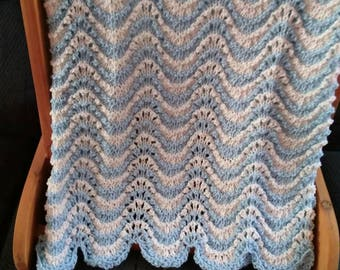 Blue and White Ripple Handknit Afghan