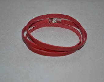 mixed red leather bracelet
