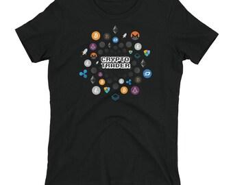 Crypto Trader Women's T-shirt // Cryptocurrency Shirt // Bitcoin Blockchain T Shirt // Stellar Bitcoin Ethereum Ripple Litecoin Logo Tee