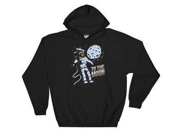 Bitcoin Cryptocurrency Astronaut To The Moon Hooded Sweatshirt // Blockchain Bitcoin Hoodie // Astronaut Crypto Digital Currency Hoodie