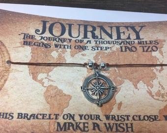 Journey wish bracelet.Nautical wish bracelet .Nautical charm bracelet.wish bracelet.Travel charm bracelet.Travel wish bracelet