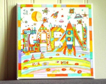 Table name - Stellar landscape - painting customized for room of child and baby