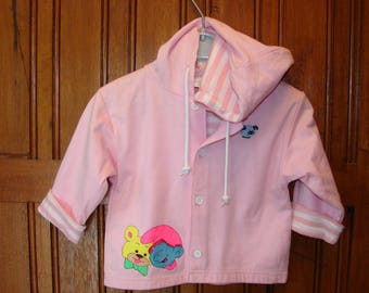 "Pink girl jacket 2 years ""Smurf"" pattern hand painted"