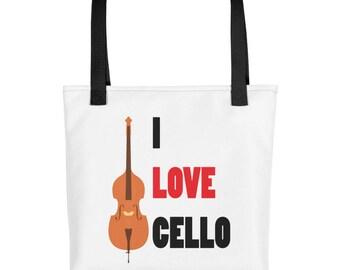 Cute I Love Cello Musical Instrument Print Tote bag