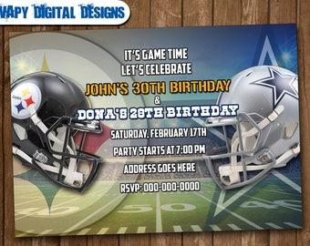 Football Cowboys v Steelers Mix Digital Party invitation customize invite birthday thank you card